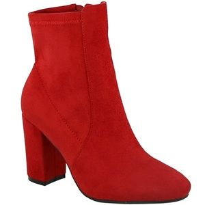 New Red Stretch Chunky Heel Ankle Boots Booties